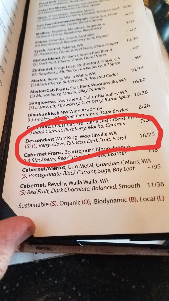 The wine list at Revolve, highlighting the price of the Warr-King Descendant.
