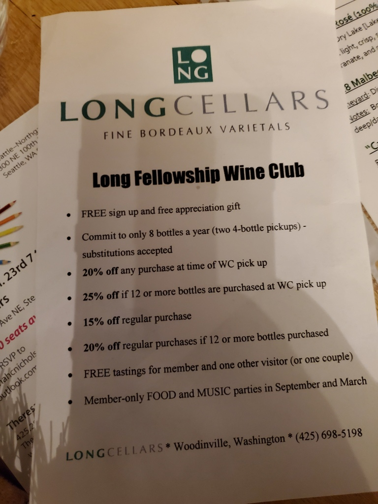 Wine club details from Long Cellars, in Woodinville Washington