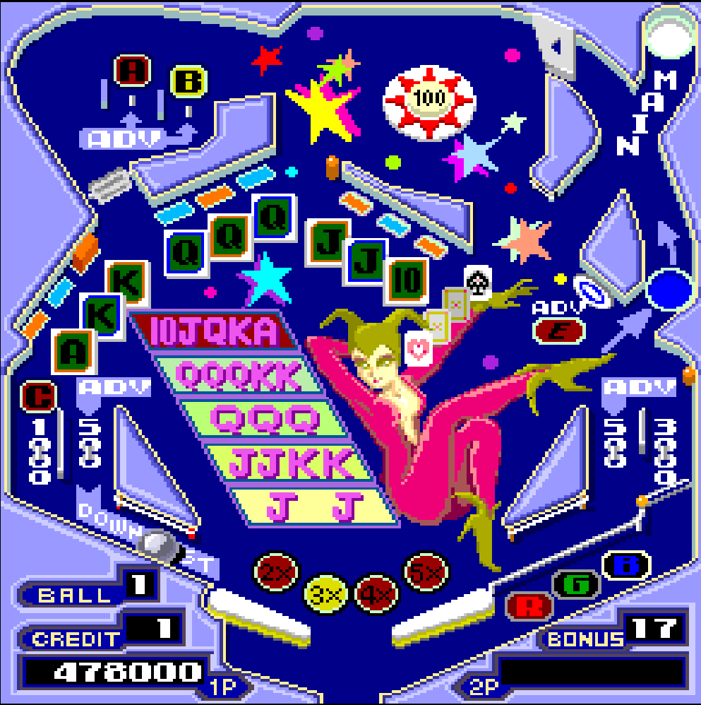 A screenshot from a pinball video game.